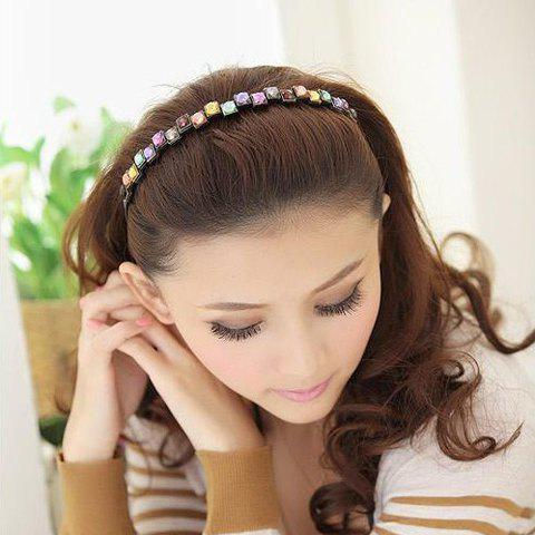 Hot Elegant Colored Square Faux Gem Hairband For Women