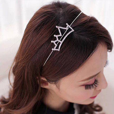 Outfits Simple Rhinestoned Openwork Crown Shape Hairband For Women - SILVER WHITE  Mobile