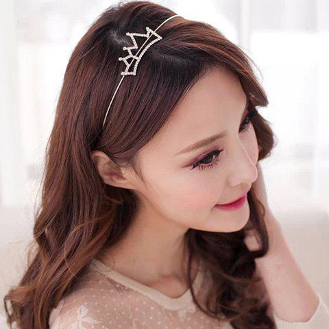 Latest Simple Rhinestoned Openwork Crown Shape Hairband For Women SILVER WHITE