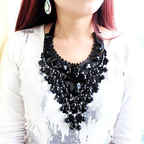 New Statement Beads Decorated Openwork Lace Pendant Necklace