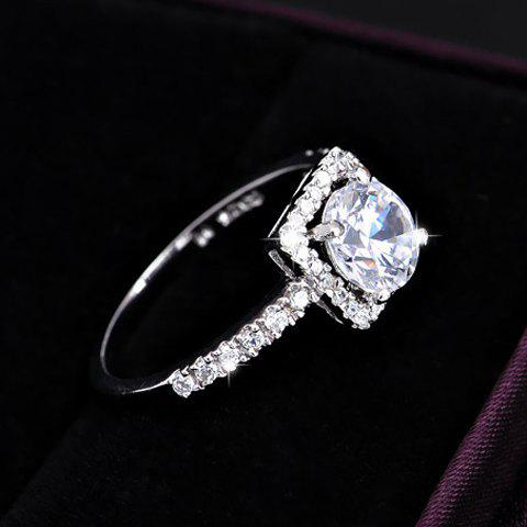 Shops Rhinestone Alloy Square Wedding Ring - ONE SIZE SILVER WHITE Mobile