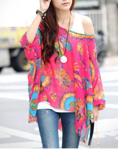 Stylish Loose-Fitting Printed Women's Chiffon Blouse
