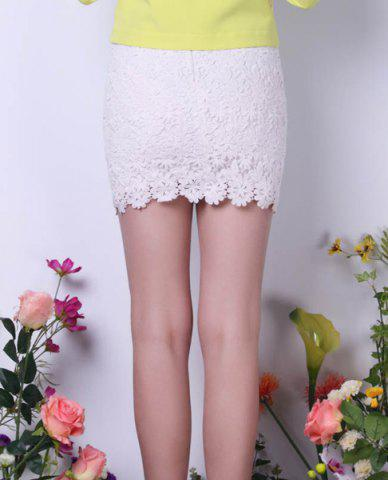 Chic Bodycon Lace Mini Skirt - S WHITE Mobile