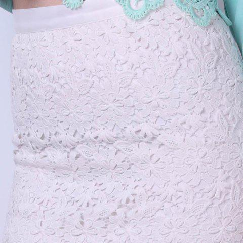 Discount Bodycon Lace Mini Skirt - S WHITE Mobile