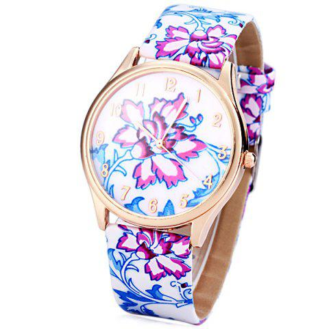 Outfit Genuine Quartz Watch with Chinese Flower Pattern Analog Indicate and Leather Watchband for Women