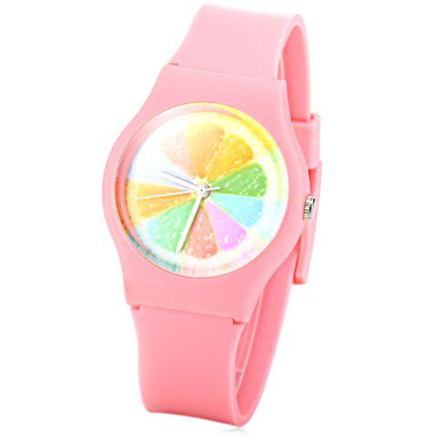 Outfits Stylish Quartz Watch Orange Slices Pattern Analog Indicate Rubber Watch Band for Women