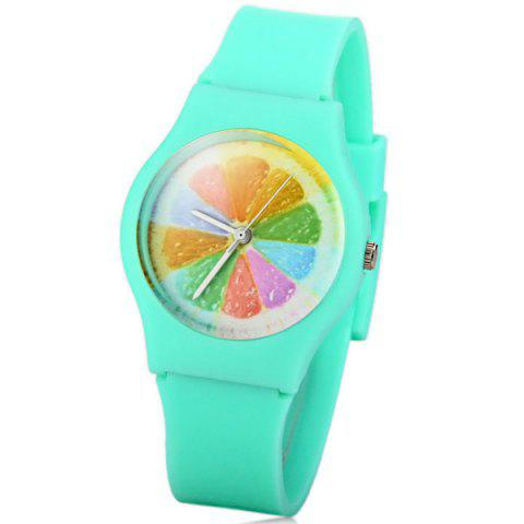 Fashion Stylish Quartz Watch Orange Slices Pattern Analog Indicate Rubber Watch Band for Women