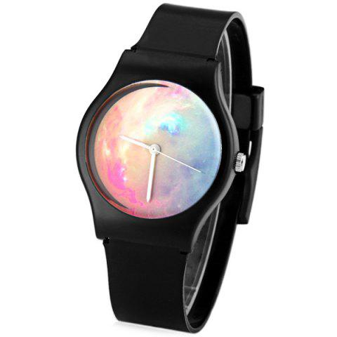 Hot Stylish Quartz Watch Oil Painting Pattern Analog Indicate Rubber Watch Band for Women BLACK