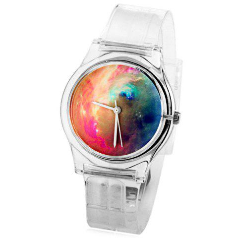Fashion Stylish Quartz Watch Oil Painting Pattern Analog Indicate Rubber Watch Band for Women TRANSPARENT