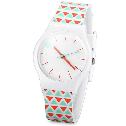 Discount Stylish Quartz Watch Triangle Pattern Analog Indicate Rubber Watch Band for Women