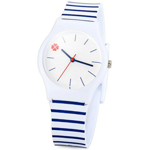 Fancy Stylish Quartz Watch Stripe Pattern Analog Indicate Rubber Watch Band for Women