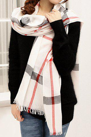 Sale Stylish Plaid Decorated Scarf For Women