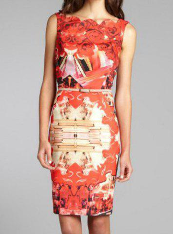 New Summery Printed Square Neck Sleeveless Knee-Length Women's Bodycon Dress