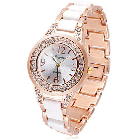 New Delicate Quartz Watch with Diamonds Analog Indicate Steel Watchband for Women