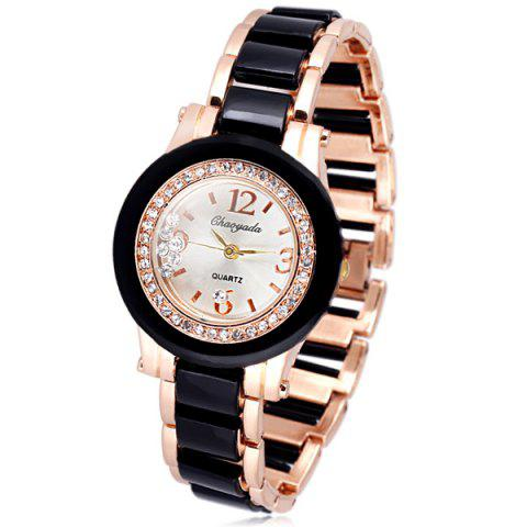 Delicate Quartz Watch with Diamonds Analog Indicate Steel Watchband for Women - BLACK