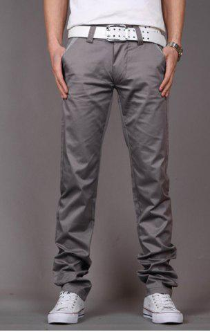 Hot Fashion Style Zipper Fly Solid Color Slimming Houndstooth Embellished Pocket Narrow Feet Men's Cotton Pants GRAY 33