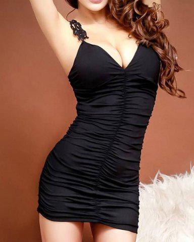 Sleeveless V-Neck Lace Splicing Black Color Women's Dress - Black - One Size