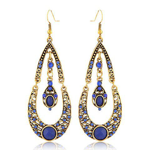 Best Pair of Bohemian Water Drop Rhinestone Pendant Earrings RANDOM COLOR PATTERN