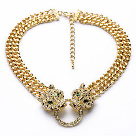 Affordable Exquisite Diamante Leopard Head Pendant Double-Layer Necklace For Women