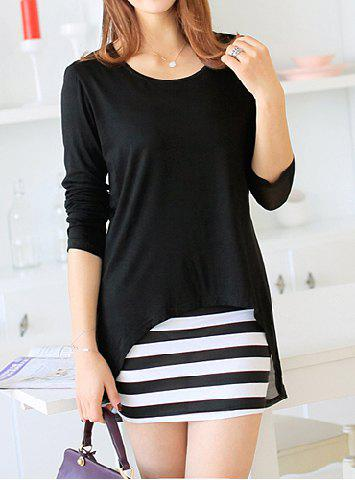 Buy Sweet Scoop Neck Women's Solid Color Blouse + Striped Sundress