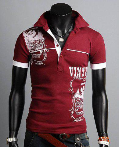 Chic Turn-down Collar Totem Print Polo Shirt WINE RED M