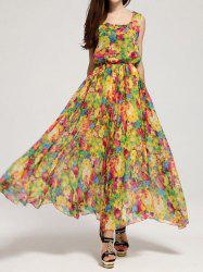 Bohemian Scoop Neck Floral Print Chiffon Dress For Women