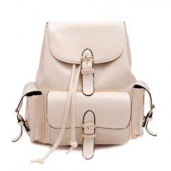 Preppy Solid Color and Buckle Design Women's Satchel -