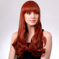 Fashion Style Fluffy Long Wavy Neat Bang Orange Red Laconic Women's Synthetic Wig