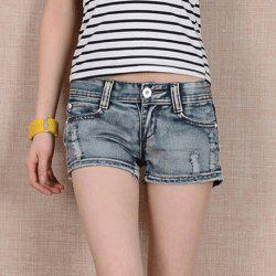 Stylish Destroy Wash Straight-Leg Women's Denim Shorts -