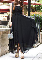 Stylish Solid Color High-Waisted Asymmetric Sleeveless Women's Chiffon Dress -