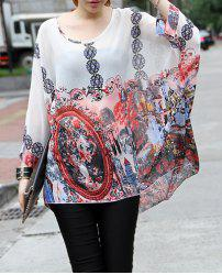 Loose-Fitting Printed Scoop Neck Women's Chiffon Blouse -