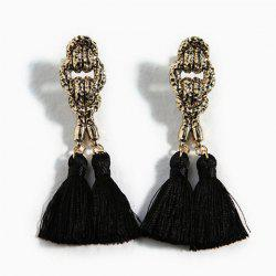 Pair of Exaggerated Tassels Alloy Drop Earrings For Women - BLACK
