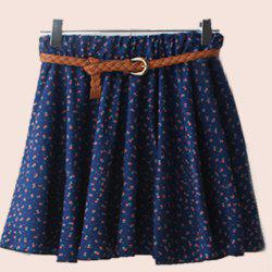 Women Retro High Waist Pleated Floral Chiffon Sheer Short Mini Skirt with Belt Type11