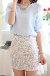 Stylish Scoop Neck Puff Sleeve Blouse and Printed Skirt Suit For Women -