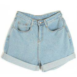 Casual Style Solid Color Turned-Edge Pockets Women's Denim Shorts -