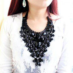 Statement Beads Decorated Openwork Lace Pendant Necklace -