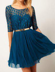 Stylish Scoop Neck 1/2 Sleeve Solid Color With Belt Chiffon Women's Dress -