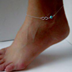 8 Shaped Fake Turquoise Bead Anklet -