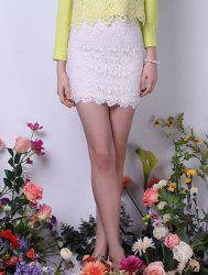 Bodycon Lace Mini Skirt - WHITE