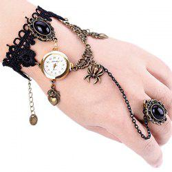 Superb Quartz Watch with Ring Round Dial Chain Watch Band for Women