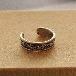 Vintage Carved Leaf Pattern Cuff Feet Ring For Women -