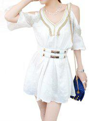 1/2 Sleeve V-Neck Embroidery Design Loose Women's Dress -