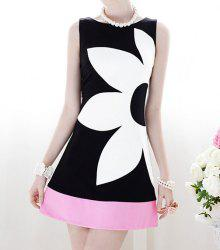 Floral Pattern Grace Scoop Neck Color Block Sleeveless Women's Dress -