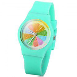 Stylish Quartz Watch Orange Slices Pattern Analog Indicate Rubber Watch Band for Women