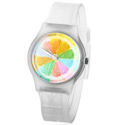 Stylish Quartz Watch Orange Slices Pattern Analog Indicate Rubber Watch Band for Women -