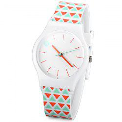Stylish Quartz Watch Triangle Pattern Analog Indicate Rubber Watch Band for Women