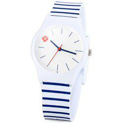 Stylish Quartz Watch Stripe Pattern Analog Indicate Rubber Watch Band for Women
