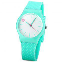 Stylish Quartz Watch Oblique Stripe Pattern Analog Indicate Rubber Watch Band for Women