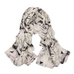 Chic Figure Pattern Embellished Scarf For Women -