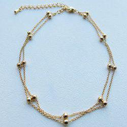 Beads Decorated Double Layer Anklet - GOLDEN